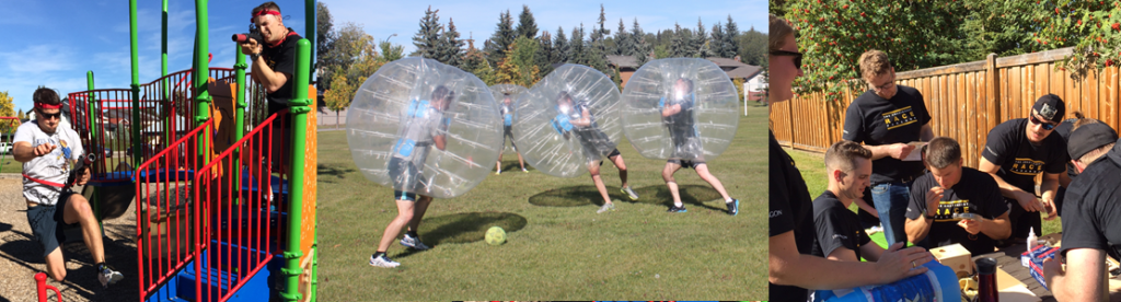 (Left to Right) Tactical laser tag was among the long list of activities that made up the day-long competition. Participants square off in a game of bubble soccer. Bird house construction at its's finest.